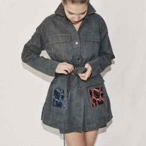 LIGHT JACKET WITH AN ADDITIONAL BELT AND VELCRO SQUARES ON POCKETS